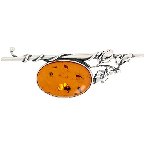 Sterling Silver Oval Russian Baltic Amber Brooch Pin with Vine Accents, 2 7/16 inch wide
