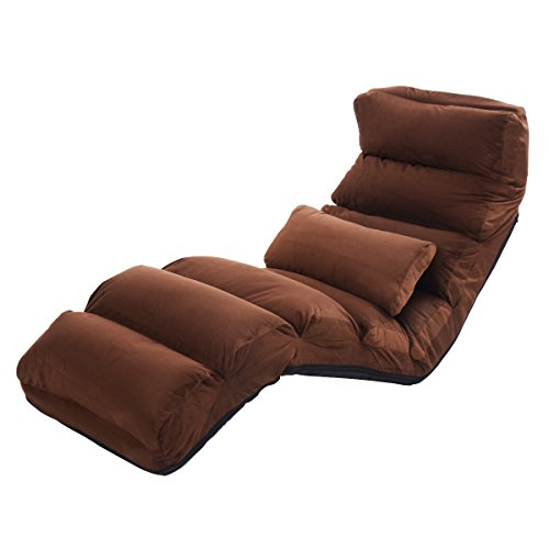 Fabric Adjustable Lounge Chair (Giantex Folding Lazy Sofa Chair Stylish Sofa Couch Beds Lounge Chair W/Pillow (Coffee))