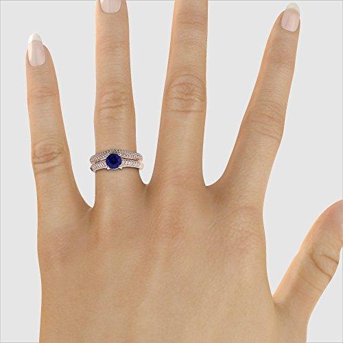 Or Rose 18carats 1CT G-H/VS sertie de diamants ronds Cut Saphir et mariée Bague de fiançailles et ensemble de Agdr-2043