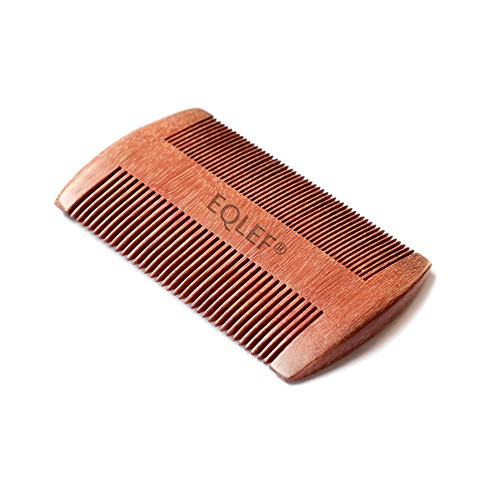EQLEF® Red sandalwood no static handmade comb, Pocket comb (beard) (Sandalwood Height)