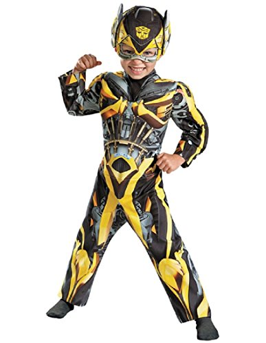 [Disguise Hasbro Transformers Age of Extinction Movie Bumblebee Toddler Muscle Costume, Medium/3T-4T] (Bee Toddler Costumes)