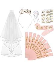 Naler 15-delig JGA Set Pink Groepset met sjerpen Sluier, Bottons Tijdelijke tatoeages voor vrijgezellenfeest