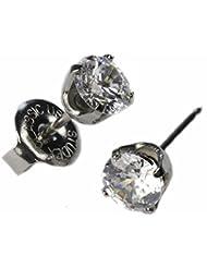 Ear Piercing Studs Earrings Silver 5mm Clear CZ Stainless...
