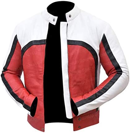 Spazeup Freddie Mercury Red and White Concert Leather Jacket