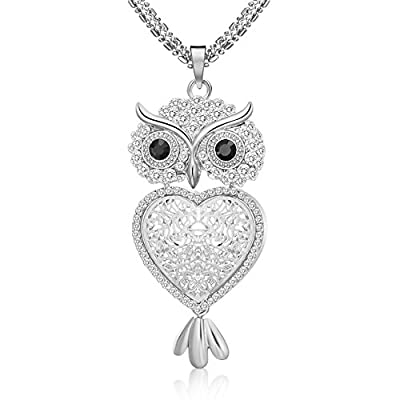 """29"""" Vintage Night Owl Heart Pendant Necklace Rhinestone Alloy Long Chain Silver Plated"""