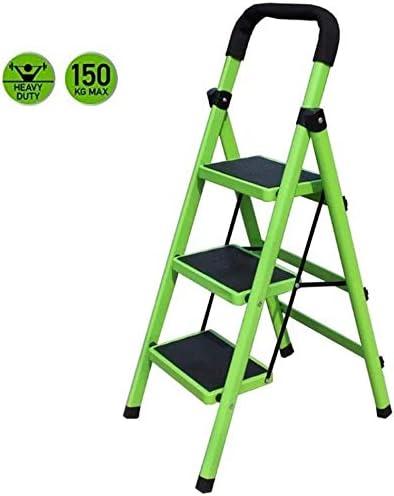 JLDN Escalerilla, 3 Peldaños Escalera Plegable Escalera Plegable de Metal escaleras de Tijera con Apoyabrazos Resistente y Ancha Antideslizantes,Green: Amazon.es: Hogar