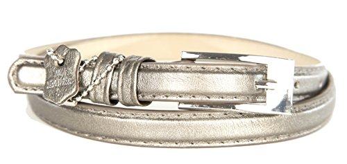 Crinkle Skinny Belt (Womens Genuine Leather Skinny Belt Half Inch Width (Medium 32/34, Crinkle Silver))