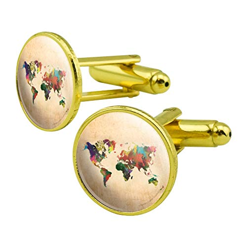 GRAPHICS & MORE Colorful Rainbow Map of The World Earth Globe Round Cufflink Set Gold Color