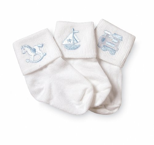 Jefferies Socks Baby Boy Collection Appliques, 3 Pack, White, 3-12 Months (Applique Baby Booties)