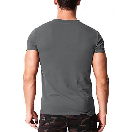 MODCHOK Hombre Camiseta Manga Corta T-Shirt Cuello V Básico Botones Color Sólido XRIVieXE