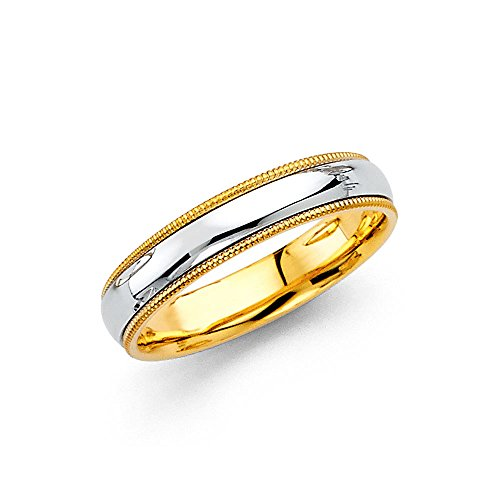 Wellingsale 14k Two 2 Tone White and Yellow Gold Polished 4MM Domed Center Milgrain Comfort Fit Wedding Band Ring - size ()