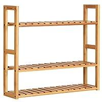 SONGMICS Bamboo Bathroom Shelves, 3-Tier Adjustable Layer Rack, Bathroom Towel Shelf, Utility Storage Shelf Rack, Wall Mounted Organizer Shelf