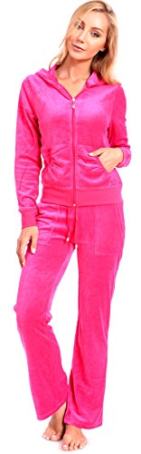 Women's Plus Size Athletic Velour Zip Up Hoodie and Sweat Pants Set Order 2 Sizes Up Pink 1X