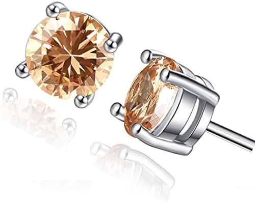 18K White Gold Plated Round Cut Zircon Earrings Lady Crystal Stud Earring