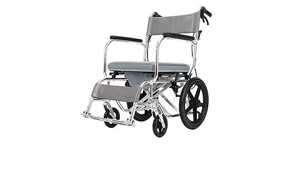 Silla de ruedas manual - Silla de ruedas con inodoro, Freno delantero y trasero Silla de baño, Rueda trasera de aleación de aluminio anti-volcado Silla de ...