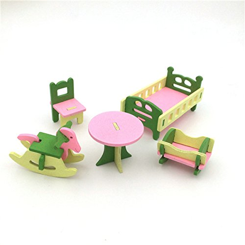 HITSAN 4 Sets of Delicate Wood Dollhouse Furniture Kits for Doll House Miniature One Piece by HITSAN (Image #4)