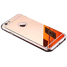 iPhone 6S Rose Gold Mirror Case,iPhone6S Mirror Rose gold Case, Slim Luxury Hybrid Glitter Bling Mirror Soft TPU Cover Case for iPhone 6S,iPhone6(Rose Gold)