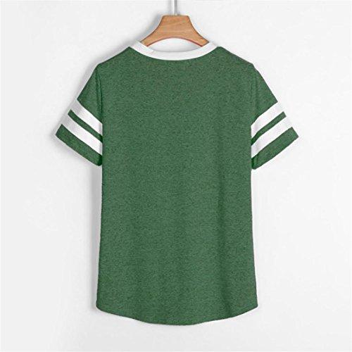 T Corta Donna Shirt Casual Bluestercool Verde Manica Estate Bluse dHRCWTq
