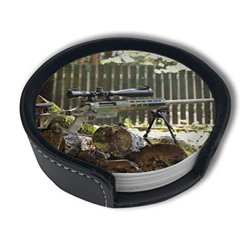 HBLSHISHUAIGE Green Camo Sniper Gun Coasters with Holder Set,Round Mugs and Cups Mat Pad for Drinks,Suitable for Home and Kitchen(6PCS) ()