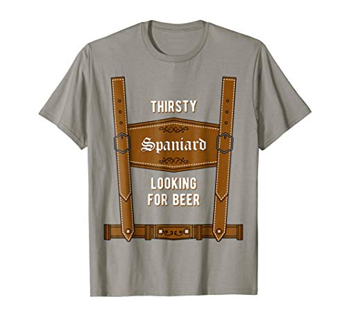 Oktoberfest Lederhosen Drinking T-Shirt - Spain Prost Tee -