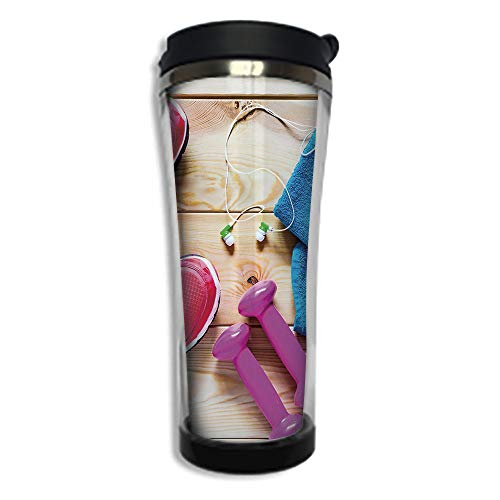 Customizable Travel Photo Mug with Lid - 8.45 OZ(250 ml)Stainless Steel Travel Tumbler, Makes a Great Gift by,Fitness,Gymnasium Theme Womens Running Shoes and Dumbbells Equipment for Training Image -