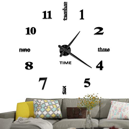 Vangold Large DIY Wall Clock, 2-Year Warranty Modern 3D Wall Clock with Mirror Numbers Stickers for Home Office Decorations ()