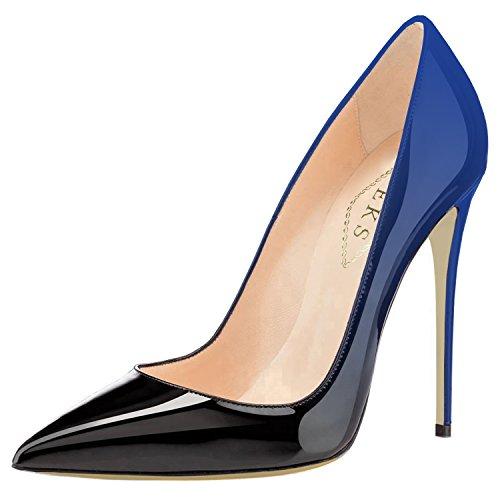 12cm Verniciata Party amp;nero Abito in Pizzo Sposa Print Ladies Pumps Blu Gradient con EKS da amp; Pelle qS01aax