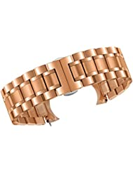 24mm Mens Deluxe Wide Solid Rose Gold Stainless Steel Watch Bracelets Wristbands with Both Curved and Straight...