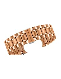 15mm Ladies' Luxurious Small Narrow Rose Gold Stainless Steel Watch Straps Belts Straight End
