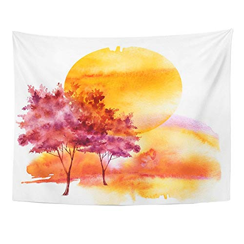 SPXUBZ Wall Tapestry Red Burgundy Silhouette of Trees Against The Sunset Sunrise Pink Sun Vintage Wall Hanging Decoration Soft Fabric Tapestry Perfect Print for House Rooms