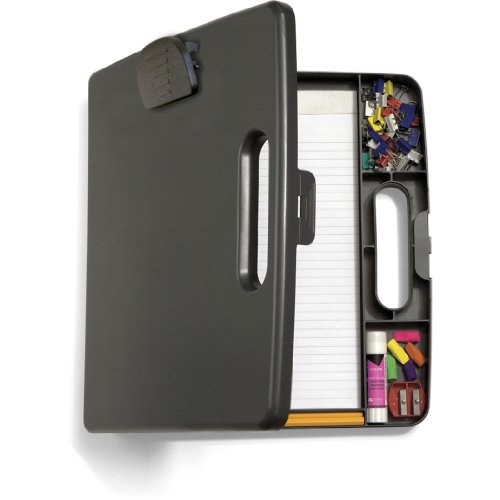 Officemate Portable Clipboard Case, Charcoal (83371) ()