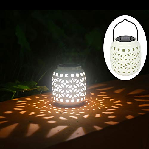 Jar Solar Lights Hollowed-Out Solar Hanging Ceramic Light for Outdoor Decoration as Lanterns and Table Lights (White)