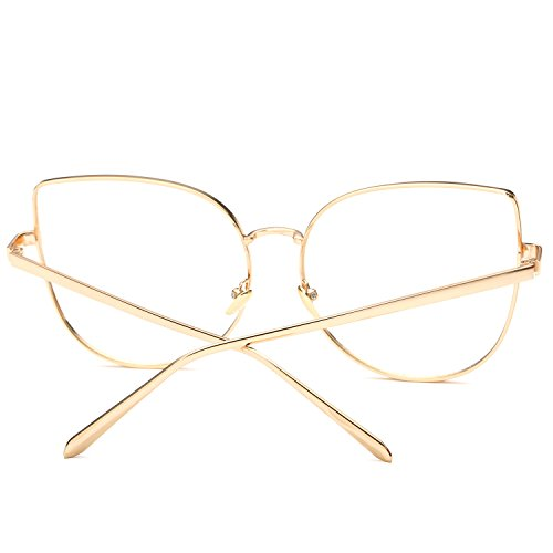 Pro Acme Oversized Cat Eye Gold Clear Lens Glasses Frame Vintage Eyeglasses Women