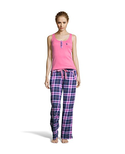 Polo Knit Pant Set (U.S. Polo ASSN. Women's Tank Top and Plaid Pajama Pants Knit Sleepwear Set Hard Candy Large)