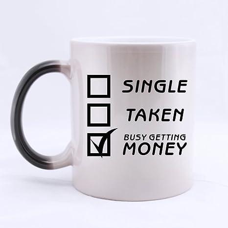 Funny investigación taza impresionante único tomadas Busy conseguir dinero Morphing Taza de café o té taza 11 oz: Amazon.es: Hogar