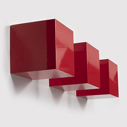 Brightmaison Kid's Nursery Room Decorative Square Wall Cubes Floating Block Shelves Set of 3 (Red) (Red Kids Wallpaper)