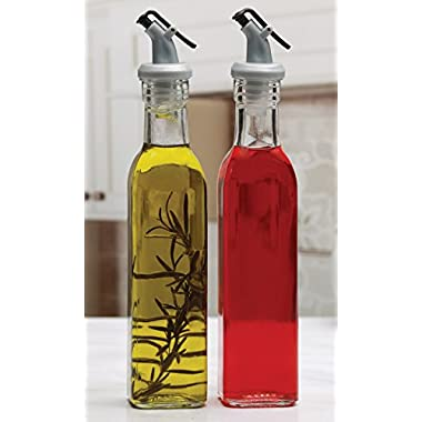 Circleware Oliveto Olive Oil and Vinegar Glass Dispenser Bottles with Pourer, Set of 2, 9.3 Ounce, Limited Edition Glassware Serveware