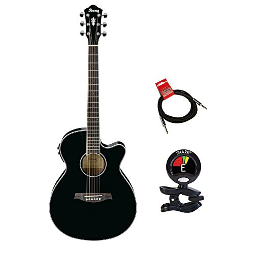 Ibanez Aeg10ii Acoustic Electric Guitar Package In Black With Clip On Tuner For Guitars And Instrument Cable Bundle