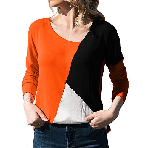 Wobuoke Fashion Women Casual Patchwork Color Block Long Sleeve O-Neck T-Shirt Blouse Tops