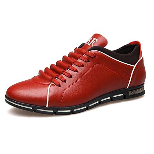 Casual Zapatos Transpirable Zapatos Cuero Moda Mens Rojo Barco Flats 1UzqCqw
