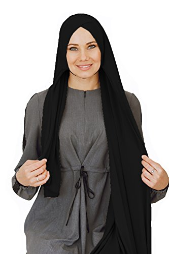 Cotton head scarf, instant black hijab, ready to wear muslim accessories for women (Black) by VeilWear (Image #3)
