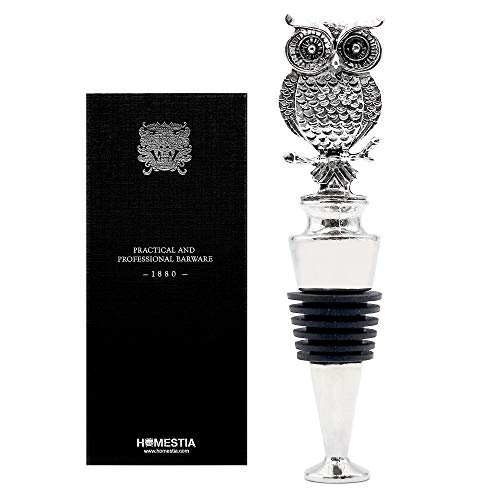 Homestia Owl Wine Stopper Stainless Steel Silicone Reusable Wine Beverage Bottle Stopper Gift ()