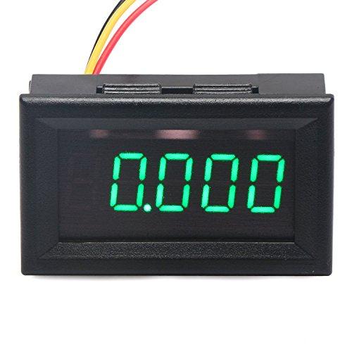 """DROK 0.36"""" 5 Digits DC Voltmeter Panel Mounting Meter 0-33.000V 12V/24V Voltage Monitor Tester Volt Gauge with Green LED Display and 3 Wires"""