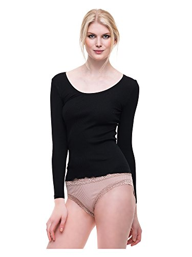 FEMME SEVEN Camiseta manga larga Vienna Básicos de seda Ropa cómoda básica Mujer negro