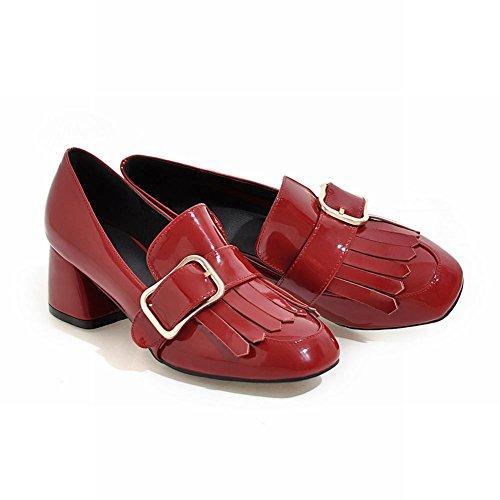MissSaSa Damen Chunky heel Lackleder Pumps mit Quaste Rot