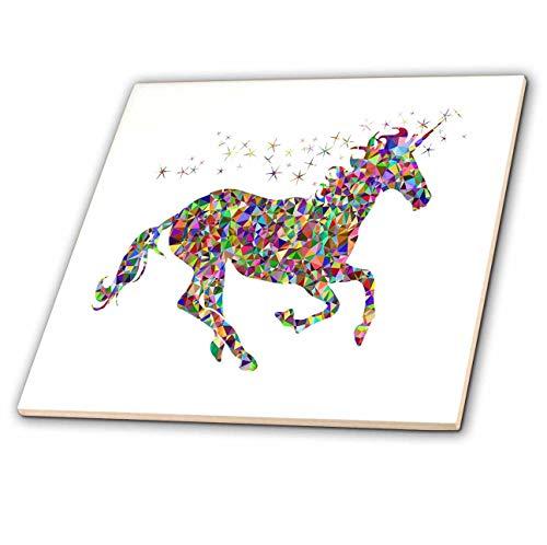 3dRose lens Art by Florene - Unicorns - Image of Colorful Metallic Prism Unicorn And Stars - 6 Inch Glass Tile (ct_315321_6)