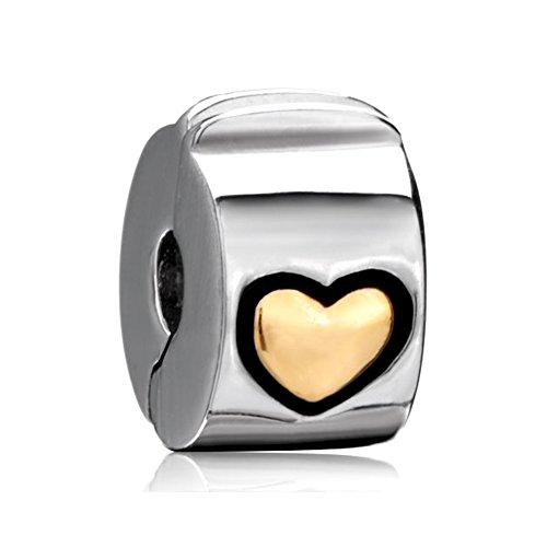 LilyJewelry Heart Clip Lock Spacers Stopper Charm Beads For Bracelets