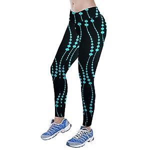 Lookatool Women High Waist Fitness Yoga Sport Pants Nine Points Leggings (XL, Blue)