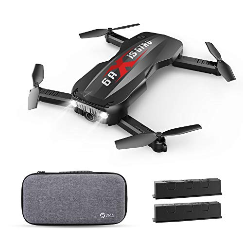 Holy Stone Foldable Drone with FPV Camera 1080p Full HD for Kids and Adults – HS160 Pro RC Quadcopter with Optical Flow Positioning App Control Headless Mode, 2 Batteries and Carrying Case