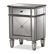 "Baxton Studio Camile Hollywood Regency Glamour Style Mirrored Nightstand, ""Silver"" Mirrored"
